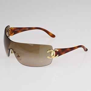 CHANEL Shield Tortoise Gold Sunglasses Brown CC